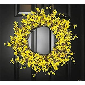 "Forsythia Wreath for Spring Springtime Summer Summertime Front Door Porch Indoor Wall Decor Mother's Day Easter, Rustic Farmhouse Home Decor, Yellow, Handmade, CHOOSE 20"" or 24"" 76"