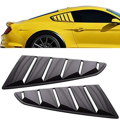 Quarter Side Panel coupe 2-door 2dr Window Louver Fit For 2015-2018 Ford Mustang | OE Style Unpainted Black PP Side Louver Cover by IKON MOTORSPORTS | 2016 2017 price tips cheap