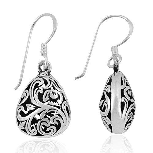 (MIMI 925 Oxidized Sterling Silver Bali Style Open Filigree Puffed Teardrop Dangle Hook Earrings )