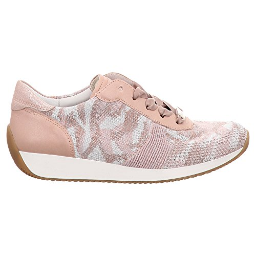 Piel mujer cordones ara Rosa para de Zapatos de Rosa Lisa 6wqIPSx