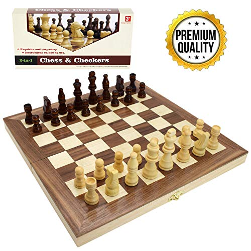 """Wooden Chess Set for Kids and Adults, Folding Chess Board Travel Chess and Checkers Set Game Board Interior for Storage ( 12"""" x 12"""" )"""