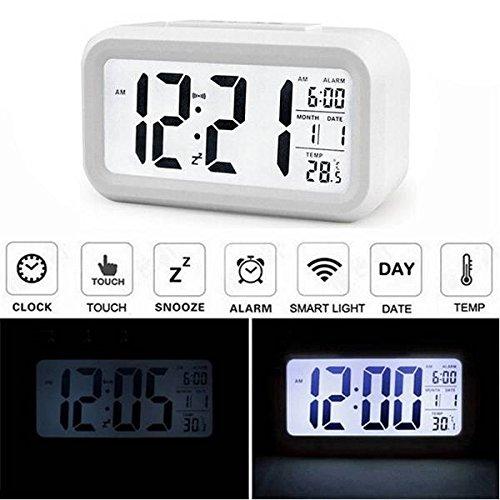 AUDEW LCD Wecker Digital Wecker Tischuhr Alarm Clock Kalender Thermometer für Auto Reise Hause Büro Weiß
