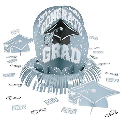 Fun Express - Silver Grad Table Decor Kits (23pc) for Graduation - Party Decor - General Decor - Centerpieces - Graduation - 23 Pieces -