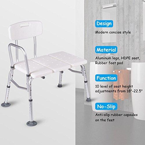 Giantex Shower Bath Seat Medical Adjustable Bathroom Bath Tub Transfer Bench Stool Chair by Giantex (Image #4)