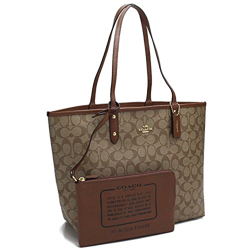 Coach Women's Reversible Canvas City Tote No Size (Khaki/Saddle 2/Brown)