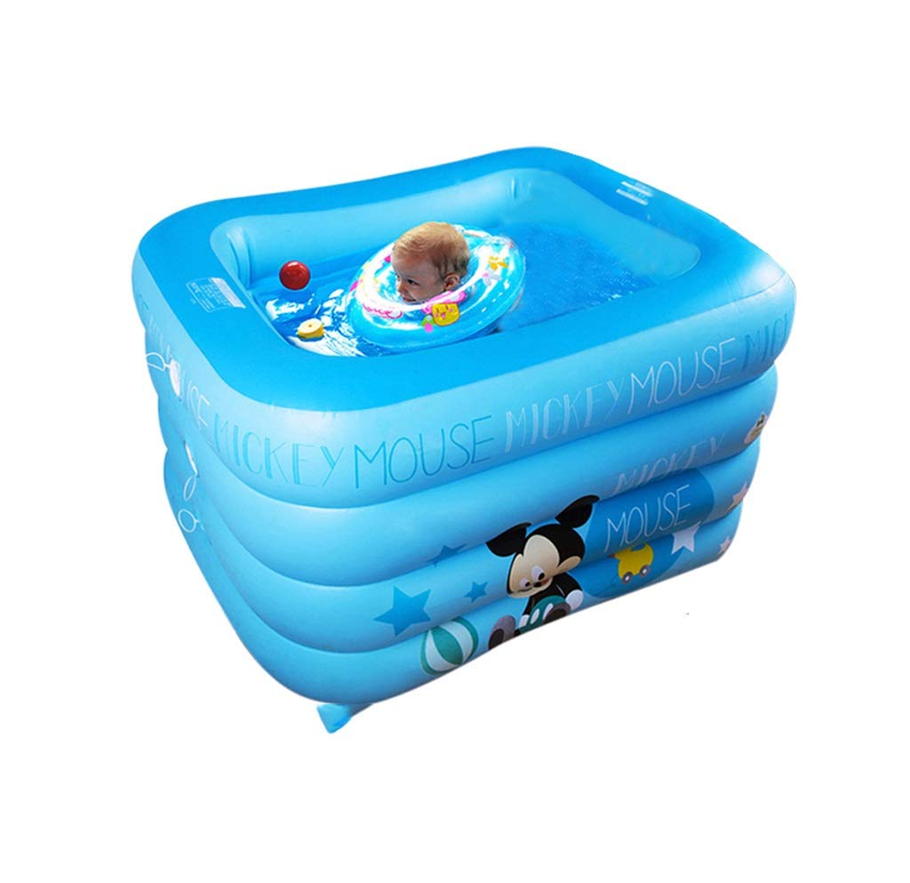 ZMM® Inflatable Bathtub, Baby Swimming Pool Inflated Newborns Child Baby Swimming Bucket Play Pool Household Inflated Bathtub Bathtub Square Blue Pink (Color : Blue)