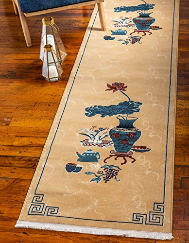Unique Loom Gansu Collection Antique Finish Chinese Pattern Tan Area Rug (2' 7 x 10' 0)
