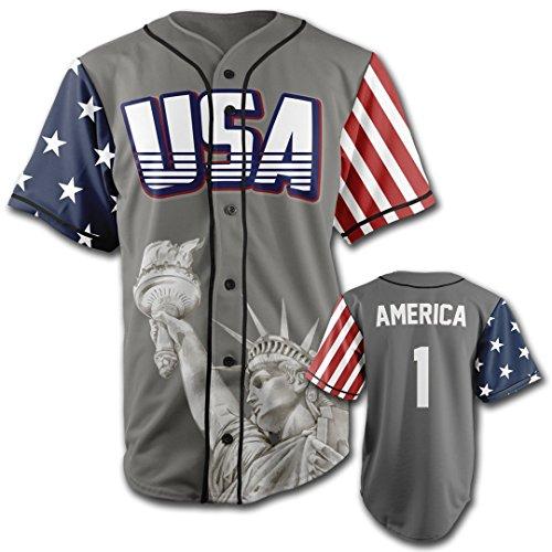 American Flag Baseball Jersey (USA Grey America #1 XXL)