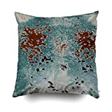 cape cod bedroom ideas Musesh Pack of 2 turquoise and brown cowhide print Cushions Case Throw Pillow Cover For Sofa Home Decorative Pillowslip Gift Ideas Household Pillowcase Zippered Pillow Covers 20X20Inch