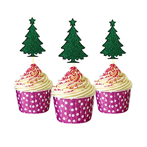 Tree xmas tree Merry Xmas Cupcake Topper Glitter Card Stock Color Green 12 pieces per Pack (Card Topiary)