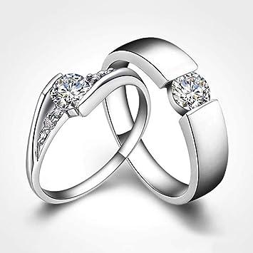 FLYWM Anillo de Diamantes de Pareja de Boda de Plata 925 Regalo se refiere al Anillo