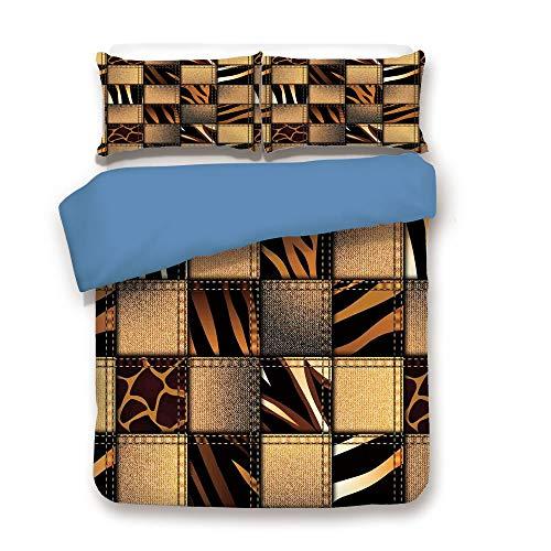 iPrint Duvet Cover Set,Blue Back,Safari Decor,Jeans Denim Patchwork in Safari Style Wilderness Stylish Fashionable Design Art,Brown Black,Decorative 3 Pcs Bedding Set by 2 Pillow Shams,Twin Size ()