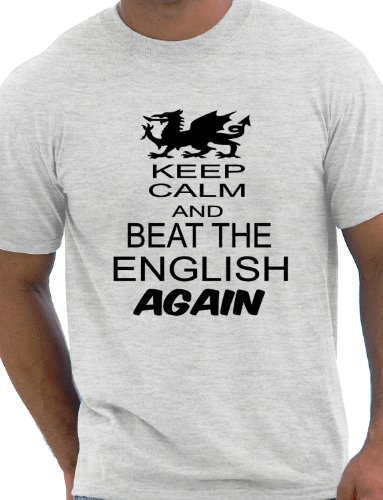 Print4U Rugby Wales Welsh Beat The English 6 Nations World Cup Mens T-Shirt Unisex Small Grey BLACK TEXT Wales Rugby Six Nations