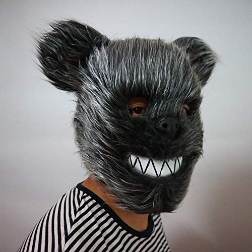 DeemoShop Hairy Black Bear Stuffed Halloween Mask High-end Funny Neutral Headwear Halloween Party Decorations Halloween Party Supplies for $<!--$59.32-->