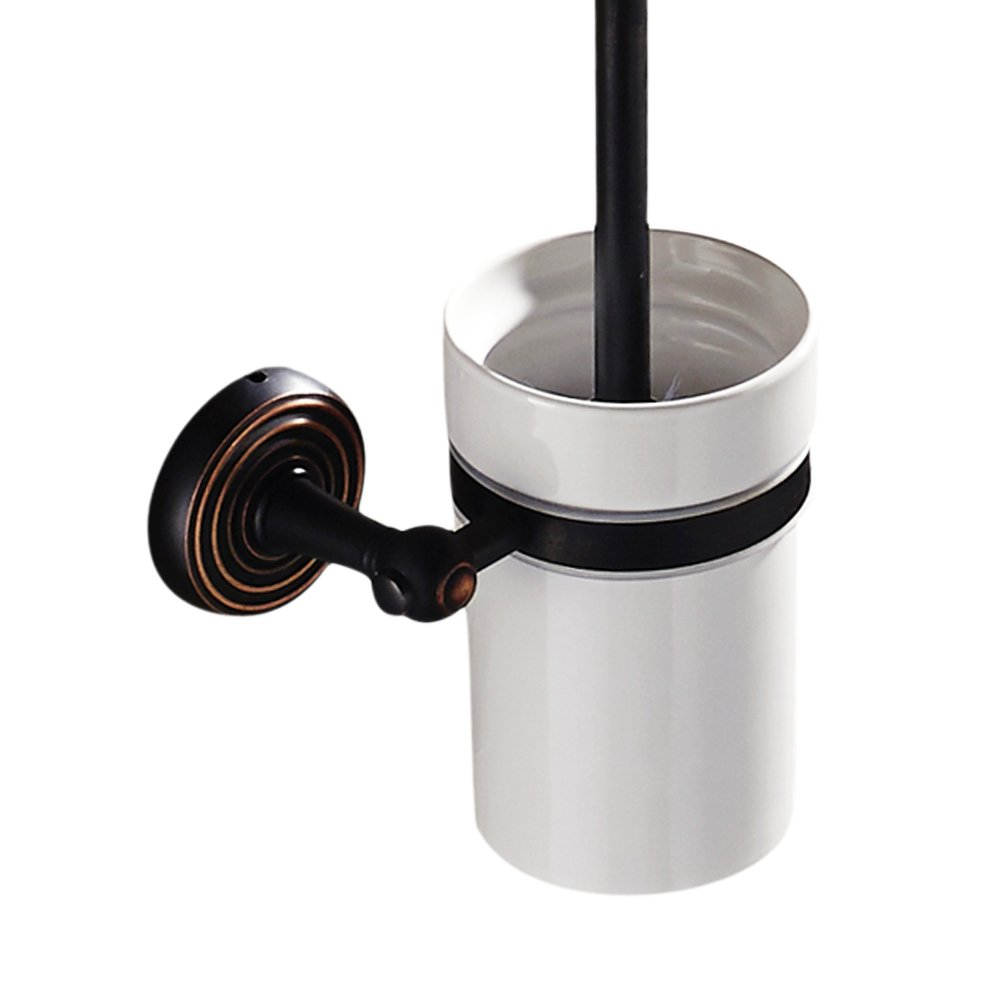 Leyden Brass Black Toilet Brush Holder Wall Mounted with Ceramic Toilet Brush Cup for Bathroom Washroom Lavatory, Retro Oil Rubbed Bronze