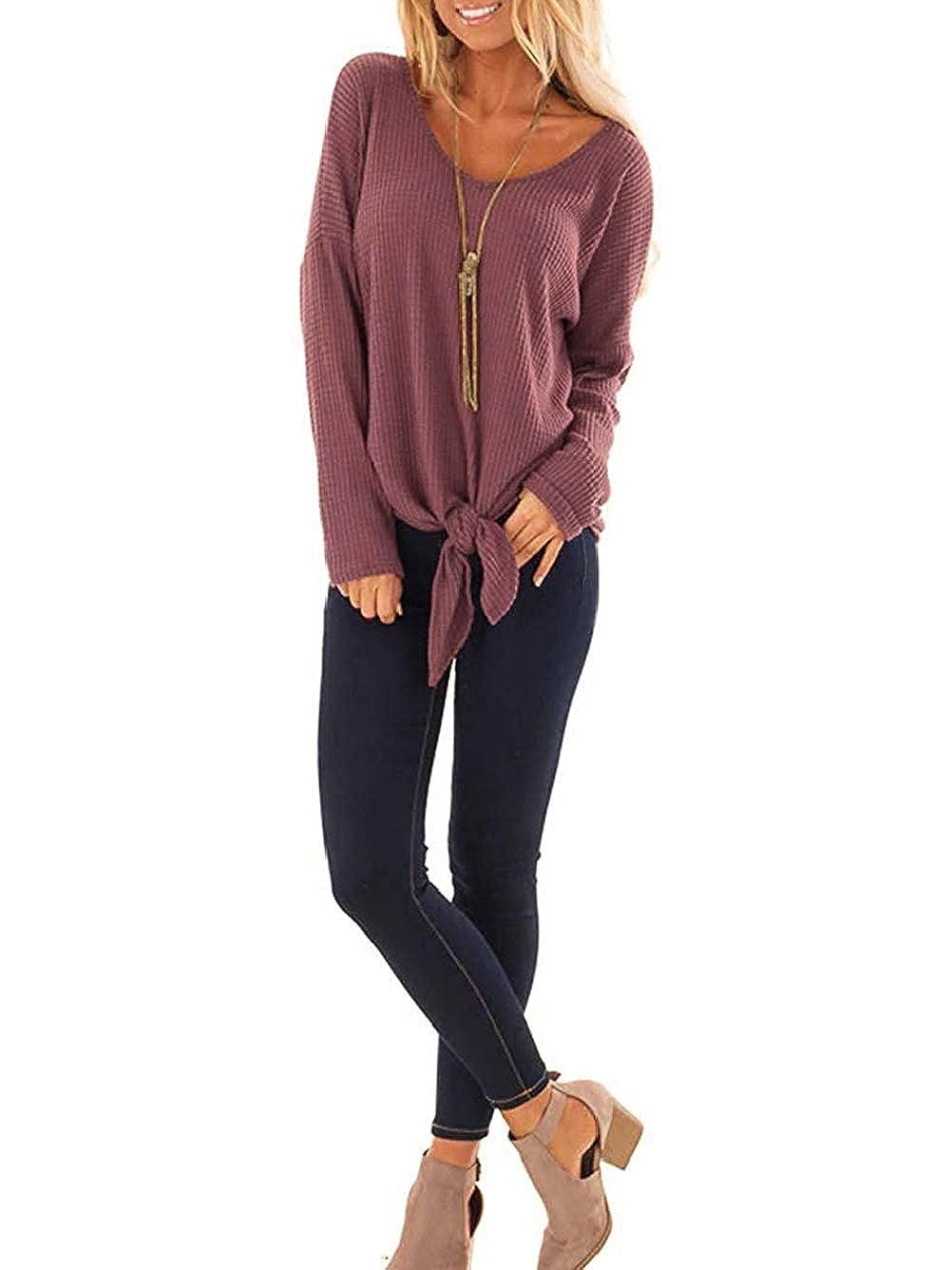 Cute Loose Tunic Fall Batwing Long Sleeve Blouse Kaei/&Shi Waffle Knit Sweater for Women Knot Tie Front Top