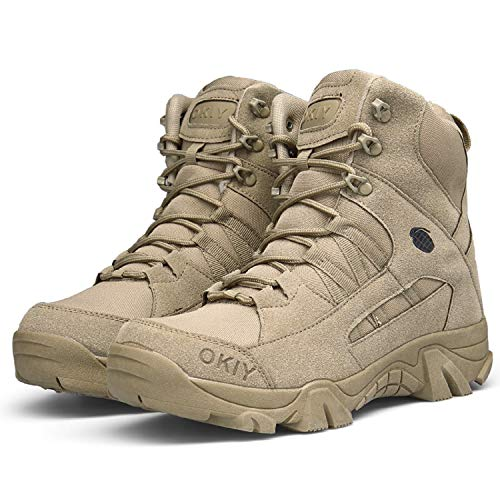 AONEGOLD Hommes Bottes de Randonnée Tactiques Militaires de Combat Bottes Chaussures de Trekking extérieures Respirantes… 4