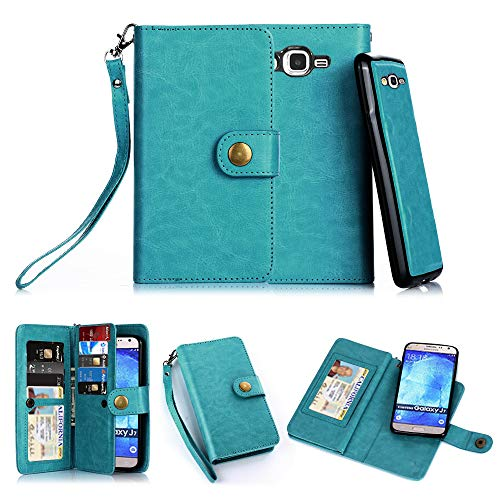 TabPow Galaxy J7 Case, 10 Card Slot - ID Slot, Button Wallet Folio PU Leather Case Cover with Detachable Magnetic Hard Case for Samsung Galaxy J7 J700 (2015) - Blue