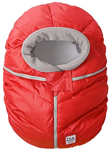7AM Enfant Car Seat Cocoon, Wind and Water Resistant, Versatile, On-the-Go and Elasticized Car Seat Cover Micro-Fleece Lined (Red, One Size 0-12 months) by 7AM Enfant