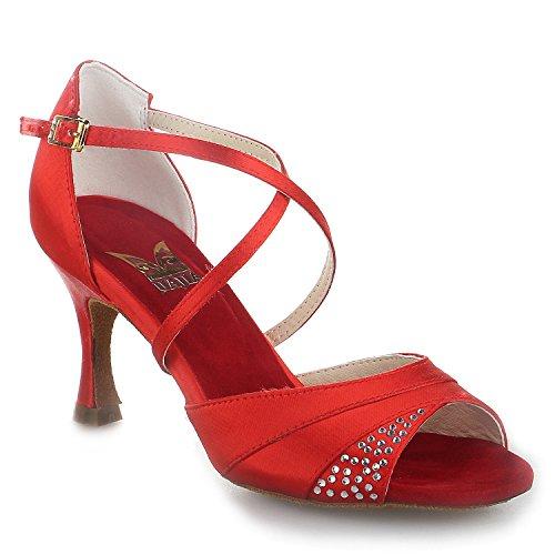 de Mujer Sandalias Zapatos con Daile Latina Imitación Satinado de Super '' Rojo Acampanados 7 Jia de Diamantes 20522 2 Tacón Jia de qw6OInxZE