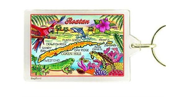 Roatan Honduras mapa recuerdo llavero Rectangular acrílico 2.5