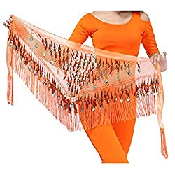 Belly Dancing Belt In Orange With Sequins