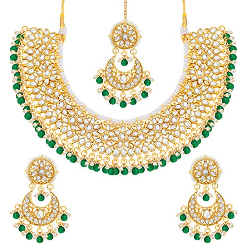 Aheli Exquisite Wedding Party Wear Faux Kundan Pearl Choker Necklace and Earrings Set (Green) Indian Ethnic Jewelry for Women