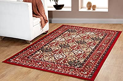 Traditional Oriental Panel Medallion Area Rug Persian Style Carpet Red Maharaja 650 furnishmyplace