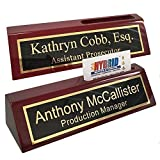 Personalized Business Desk Name Plate with Card Holder - Includes Engraving &