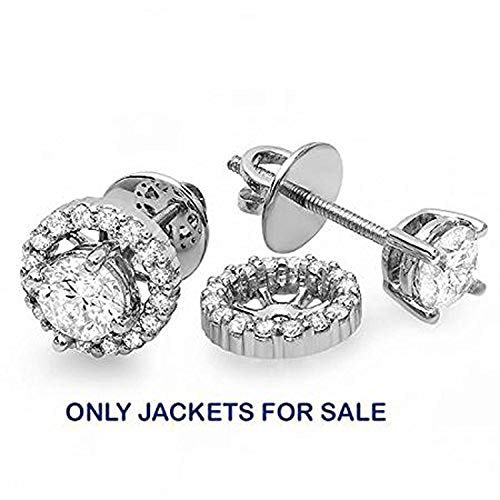 Diamond Womens Jacket - 0.25 Carat (ctw) 14K White Gold Round Diamond Removable Jackets for Stud Earrings 1/4 CT