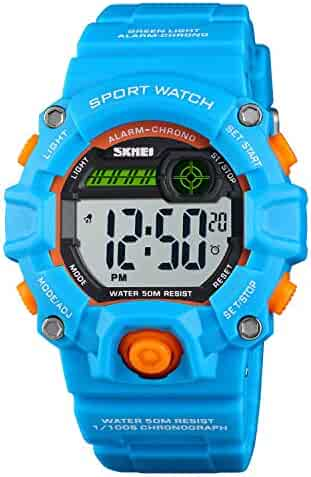 Boys and Girls LED Sport Digital Watch,Waterproof Electronic Casual Military Wrist Kids Sports Watch with Silicone Band Luminous Alarm Stopwatch Blue Unisex Children Watches