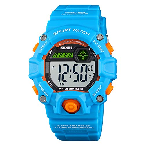 port Digital Watch,Waterproof Electronic Casual Military Wrist Kids Sports Watch with Silicone Band Luminous Alarm Stopwatch Blue Unisex Children Watches ()
