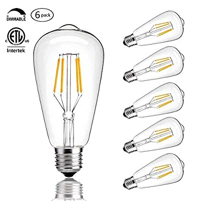 CMYK Vintage Edison LED Bulb, Dimmable 4W ST64 Antique LED Bulb Squirrel Cage Filament Light for Decorate Home, E26, 2200K, Clear Glass,Soft Warm White