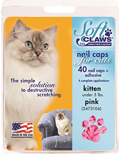 Soft Claws Kittens First Year, Feline Nail Caps, Color Pink