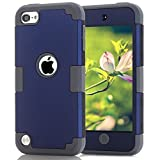 Protective Case for iPod Touch 5 Case for iPod Touch 6 Case, 3 in 1 Hard PC Case + Silicone Shockproof Heavy Duty Hard Case Cover for Apple iPod Touch 5 6th Generation (Dark Blue+Gray)