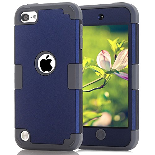iPod Touch 5 Case, iPod Touch 6 Case, Dual Layered 3 in 1 Hard PC Case + Silicone Shockproof Heavy Duty High Impact Armor Hard Case Cover for Apple iPod touch 5 6th Generation (dark blue+gray)