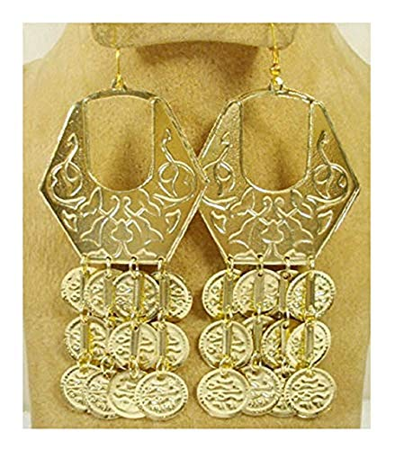 Belly Dance Egyptian Metal Coin Earring Dangle Dancing Jewelry Gypsy 110 (Gold Tone)