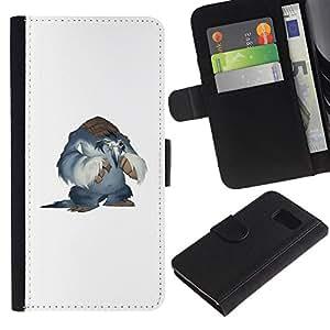 LECELL--Cuero de la tarjeta la carpeta del tirón Smartphone Slots Protección Holder For Sony Xperia Z3 Compact -- Nieve Yeti --