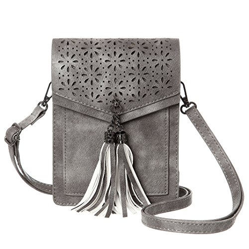 MINICAT Fringe Thicher Pocket Small Cell Phone Purse Wallet Small Crossbody Bags For Women With Credit Card Slots(Gray)