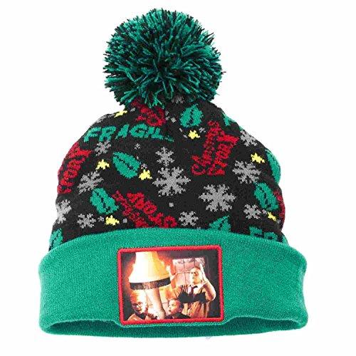 A Christmas Story Mens Black & Green Holiday Leg Lamp Beanie Stocking Cap (Christmas Story Hat)