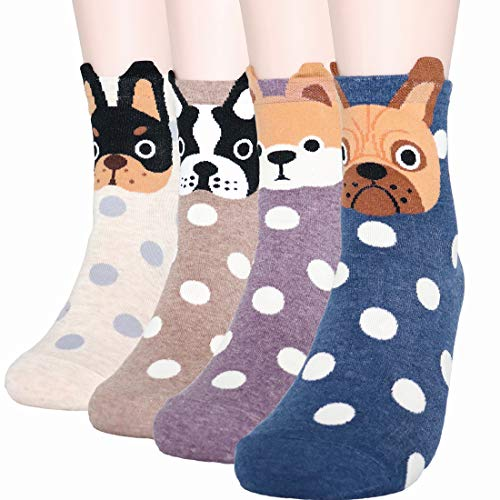 DearMy Womens Cute Design Casual Cotton Crew Socks | Good for Gift Idea| One Size Fits All | Gifts for Women (Dog Puppy 4 Paris) -