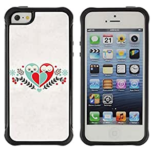 Hybrid Anti-Shock Defend Case for Apple iPhone 5 5S / Cute Birds & Heart Love