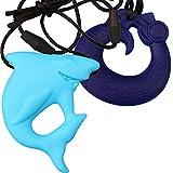 MyBoo Autism Sensory Chewable Dragon and Shark Pendant Bundle - Set of 2, Blue