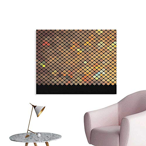 Anzhutwelve Earth Tones Wall Picture Decoration Vibrant Mosaic of Diagonal Squares with a Black Finish Celebration Event Theme Custom Poster Multicolor W32 xL24 ()