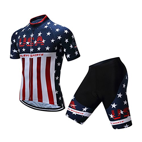Shenshan Men's Summer USA Short Sleeve Cycling Jersey Set Blue-White L (White Short Jersey Cycling Sleeve)