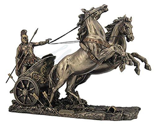 14.5 Achilles On Two Horse Chariot Statue Sculpture Figurine Troy Greek Decor