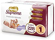 Huggies Supreme Pañal Desechable para Bebé, Etapa 1 Unisex, Caja con 228 Piezas, Ideal para Bebés de 3 a 5.5 k
