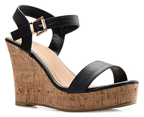 OLIVIA K Women's Open Toe Strappy Mid High Wedge Heel Wood Decoration Buckle Shoes - Mid Strappy Sexy Shoes Platform