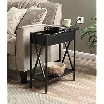 Convenience Concepts Tucson Electric Flip Top Table, Black