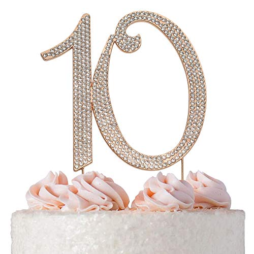 10 Cake Topper   ROSE GOLD   Premium Bling Crystal Rhinestone Diamond Gems   10th Birthday or Anniversary Party Decoration Ideas   Quality Metal Alloy   Perfect Keepsake (Tenth Birthday Candles)